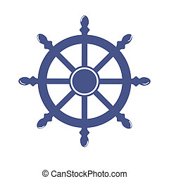 車輪, 隔離された, イラスト, バックグラウンド。, ベクトル, 船, 旗, 白