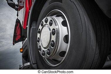 車輪, chromed, トラック, クローズアップ