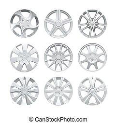車輪, figured, アルミニウム, rims, 自動車, set., wheel., の上, ベクトル, 縁, tracks., 自動車, 合金, 終わり