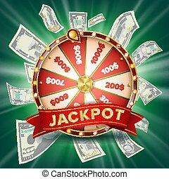 車輪, jackpot, 幸運, カラフルである, wheel., クラブ, カジノ, イラスト, バックグラウンド。, 白熱, vector., ギャンブル, 旗