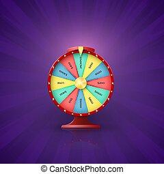 車輪, jackpot, 幸運, 矢, ポイント, 紫色, 型, slot., 隔離された, イラスト, lottery., ベクトル, 背景, 勝利, 機会