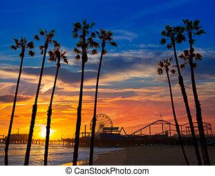 車輪, monica, ferrys, カリフォルニア, santa, 日没, 桟橋
