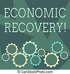 車輪, recovery., 端, ギヤ, ビジネス, 写真, 提示, 上昇, 従事, 執筆, 景気後退, showcasing, 経済, シグナリング, コグ, 活動, 概念, tesselating., 手, 連結