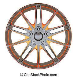 車輪, sportcar, 隔離された, ディスク, 合金, ∥あるいは∥