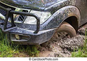 車輪, suv, スタックした, クローズアップ, 得られた, 泥