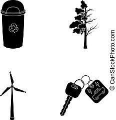 車。, エコロジー, 木, タービン, スタイル, ごみ, シンボル, キー, セット, ベクトル, 株, 風, web., bio, アイコン, 黒, イラスト, 缶, コレクション, 病んでいる