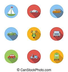 車, スタイル, セット, アイコン, 平ら