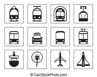 車, セット, 公衆, アイコン