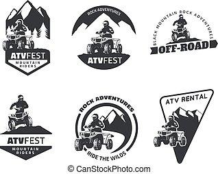 車, デザイン, atv, バッジ, オフロード, セット, すべての - 地形, 紋章, elements., icons.