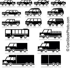車, ベクトル, セット, レトロ, アイコン