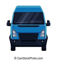 車, ベクトル, minivan, イラスト, 光景, 乗客, ∥あるいは∥, 前部, 平ら, 貨物, 交通機関, 青...
