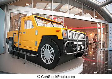 車, モデル, ショッピングセンター, 入口, オフロード