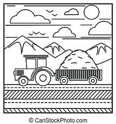 車, 收穫者, 干草, 拖拉机, 運載, 圖畫, 農場, outline, 或者
