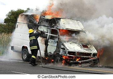 車, 燃焼, 消防士