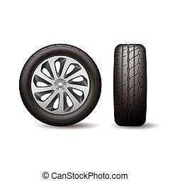 車 車輪, イラスト, ディスク, 現実的, ベクトル, tyre, 照ること, 隔離された