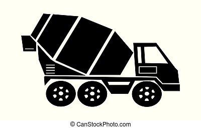車, 輸送, コンクリート, アイコン, 貨物, ミキサー, トラック, セメント