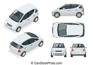 車, eco 友好的, コンパクト, 上, 白, auto., ベクトル, 電気である, 小さい, 隔離された, 前部, 側, 等大, change., 後部, 容易である, ハイブリッド, 車。, ∥あるいは∥, テンプレート, hi-tech, 光景, 色