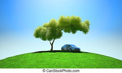車, fileld, 現代, 木, 緑, 下に