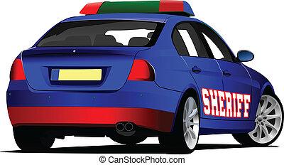 車。, illu, ベクトル, sheriff`s, police.