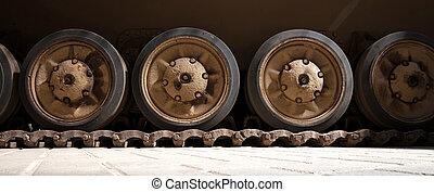 軌道に沿って進む, タンク, 装甲車両, 車輪
