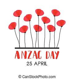 軍団, zealand, day., 軍隊, 新しい, anzac, オーストラリア