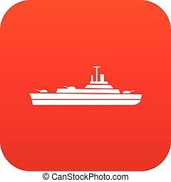 軍艦, デジタル, 赤, アイコン
