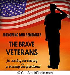 軍隊, アメリカ人, 私達, 兵士, 旗, 挨拶
