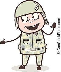 軍隊, イラスト, 顔, 朗らかである, ベクトル, 表現, 漫画, 人