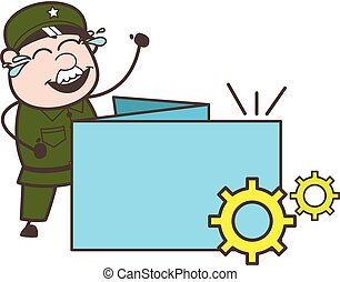 軍隊, プロセス, イラスト, ベクトル, 旗, 漫画, 人