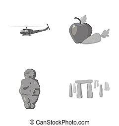 軍隊, 宗教, 以及, 其他, 單色, 圖象, 在, 卡通, style.food, 歷史, 圖象, 在, 集合, collection.