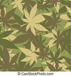 軍隊, marijuana., 葉, cannabis., seamless, カモフラージュ, hemp., 手ざわり...