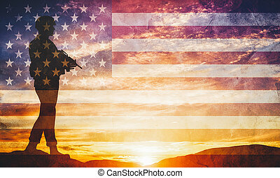 軍隊, war., 兵士, ライフル銃, 監視, 武装させられた, flag., 軍, アメリカ