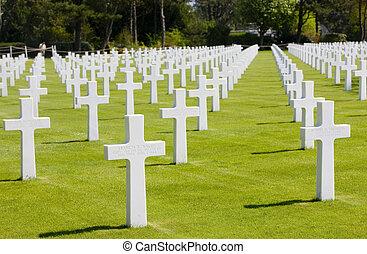 軍, アメリカ人, 浜, omaha, 墓地