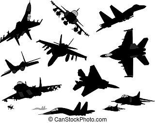 軍, セット, 航空機