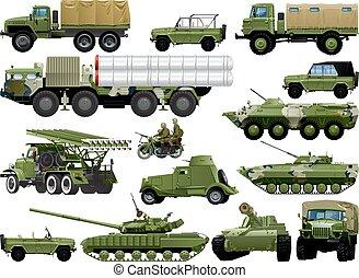軍, セット, vehicles.