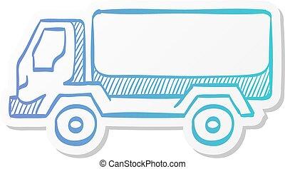 軍, トラック, アイコン, -, ステッカー, スタイル