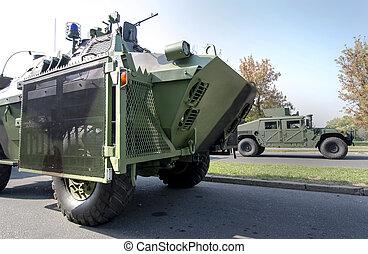 軍, トラック, 車