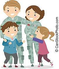 軍, 子供, stickman, 家族, イラスト
