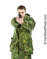 軍, 撃つ, 人