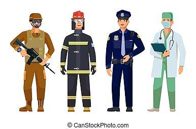 軍, 警官, 男性, 医者, 監視, 消防士