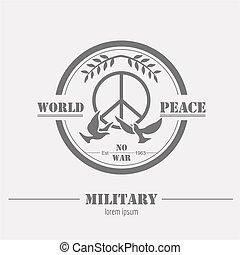 軍, badges., グラフィック, template., ロゴ