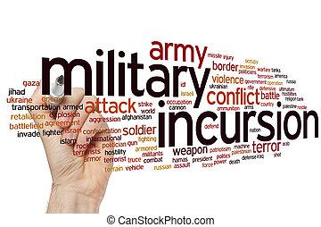 軍, incursion, 単語, 雲