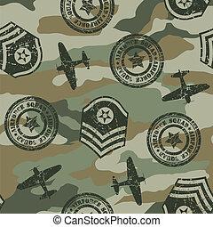 軍,  seamless, バッジ, パターン