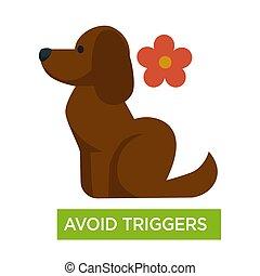 軟毛, 避免, 過敏, 引發, 哮喘, 花, 狗