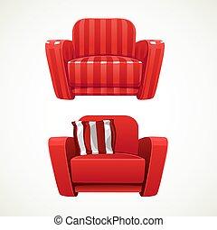 軟, 紅色, 扶手椅子, 剝去