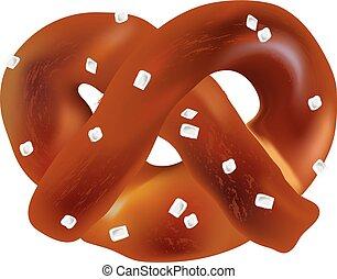 軟, bavarian, pretzels., 矢量, 對象