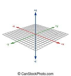 軸, 座標, ベクトル, 3d