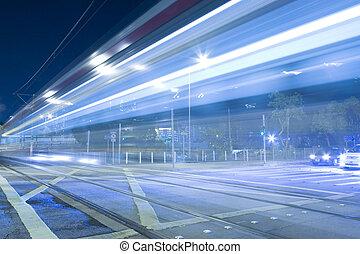 軽い 柵, 中に, 香港, 夜で