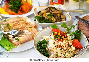 軽食, ナプキン, cutlery, 焦点を合わせなさい。, 精選する, 夕食, プレート, 寒い, 白, テーブル