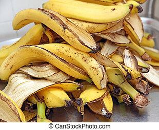 軽食, バナナの 皮, 残物, 後で, 黄色, schoo, 子供